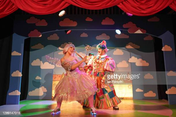 Cast members perform Jack and the Beanstalk at York Theatre Royal on December 02, 2020 in York, England. The performance is the first of a series...