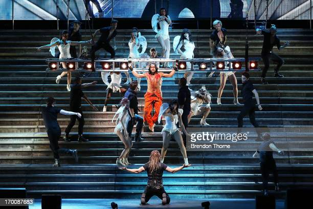 "Cast members perform live at the ""Jesus Christ Superstar"" production photo call at the Sydney Entertainment Centre on June 7, 2013 in Sydney,..."