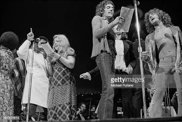 Cast members performing in the stage version of the Who's rock opera 'Tommy' at the Rainbow Theatre London 9th December 1972 Left to right Merry...