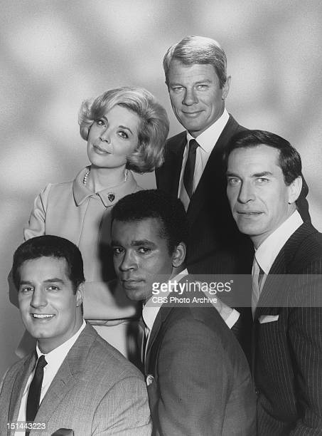 MISSION IMPOSSIBLE cast members Peter Lupus Barbara Bain Greg Morris Peter Graves and Martin Landau Image dated April 11 1967