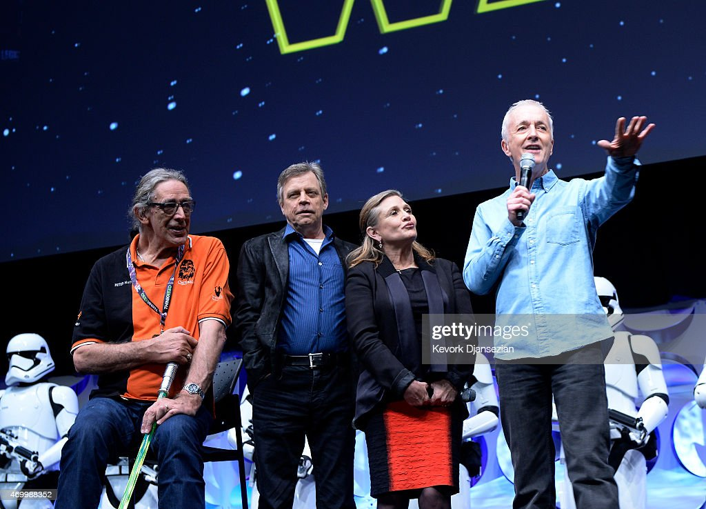 Cast members (L-R) Peter Mayhew, Mark Hamill, Carrie Fisher and Anthony Daniels of the original 'Star Wars' film are introduced to fans at the kick-off event of Disney's Star Wars Celebration 2015 at the Anaheim Convention Center April 16, 2015. The Star Wars Celebration runs through April 19.