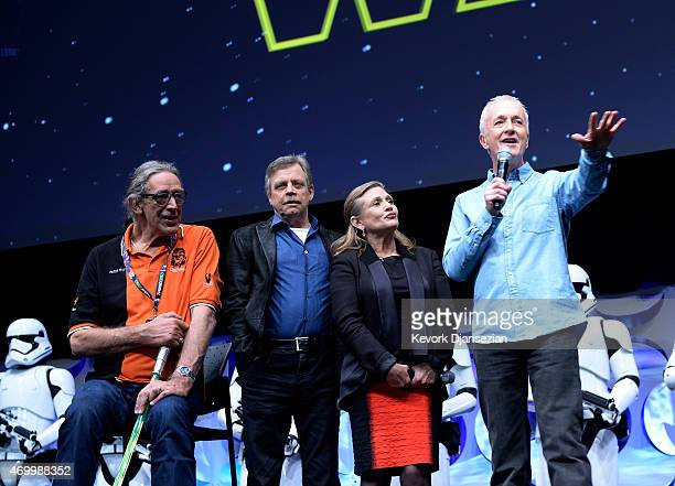 Cast members Peter Mayhew Mark Hamill Carrie Fisher and Anthony Daniels of the original 'Star Wars' film are introduced to fans at the kickoff event...