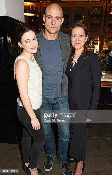 Cast members Phoebe Fox Mark Strong and Nicola Walker attend the after party following the press night performance of A View From The Bridge at The...