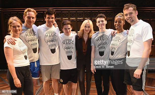 Cast members Poppy Miller Paul Thornley Stuart Ramsey Sam Clemmett Anthony Boyle Noma Dumezweni and Alex Price pose with JK Rowling at the gala...