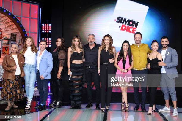 Cast members pose for photos during 'Simon Dice' new season presentation at Televisa San Angel on July 17 2019 in Mexico City Mexico