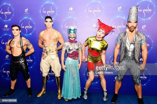 Cast Members pose for photos during the World Premiere of La Perle at La Perle on September 13 2017 in Dubai United Arab Emirates