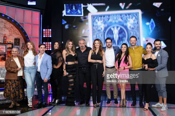 Cast members poses for photos during 'Simon Dice' new season presentation at Televisa San Angel on July 17 2019 in Mexico City Mexico