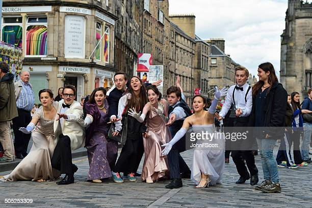 Cast members posing for a picture during the Edinburgh Fringe