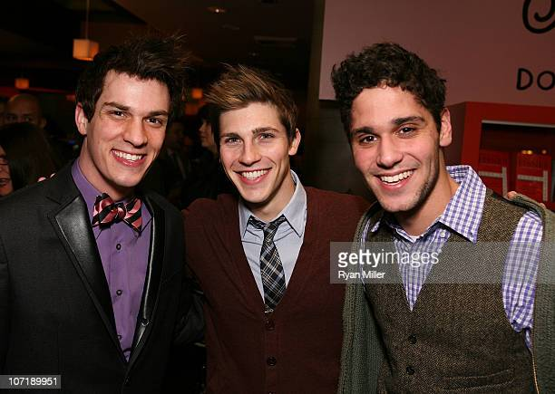 Cast members Preston Sadleir Curt Hansen and Perry Sherman pose during the party for the opening night launch of the National Tour of Next to Normal...