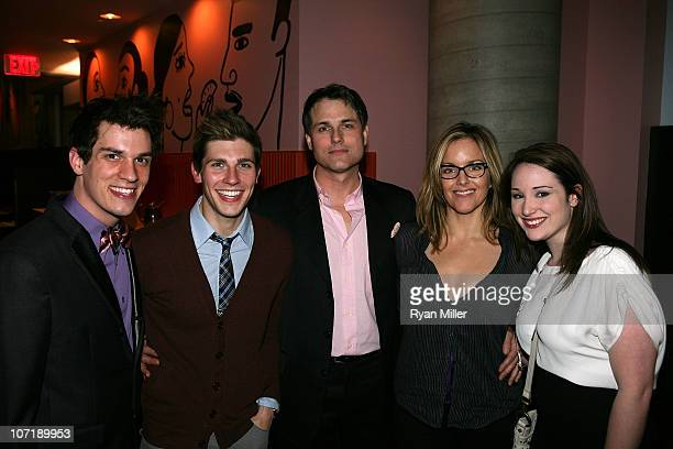 Cast members Preston Sadleir Curt Hansen Asa Somers Alice Ripley and Emma Hunton pose during the party for the opening night launch of the National...