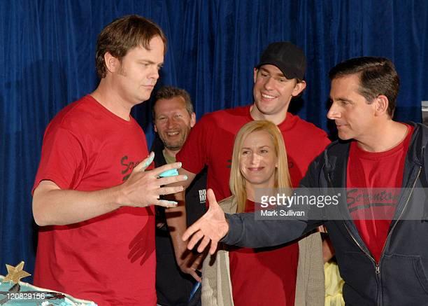 "Cast members Rainn Wilson, Angela Kinsey, John Krasinski and Steve Carell attend the ""The Office"" 100th Episode Celebration at the Calamigos Ranch on..."