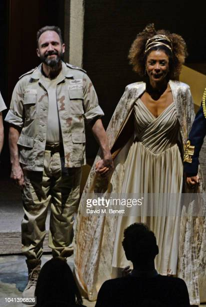 Cast members Ralph Fiennes and Sophie Okonedo bow at the curtain call during the press night for Antony Cleopatra at The National Theatre on...