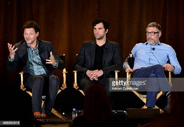 Cast members Richard Coyle Juan Pablo Di Pace Vincent Regan take part in panel discussion 'AD The Bible Continues' during NBCUniversal Summer Press...