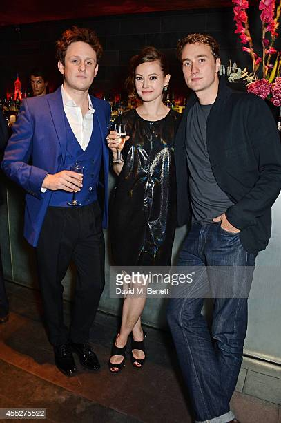 Cast members Richard Goulding Lydia Wilson and Oliver Chris attend an after party celebrating the press night performance of King Charles III at Mint...