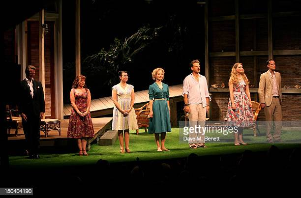 Cast members Robin Sebastian, Finty Williams, Dawn Steele, Jenny Seagrove, Jason Durr, Perdita Avery, Tim Daish bow at the curtain call during the...