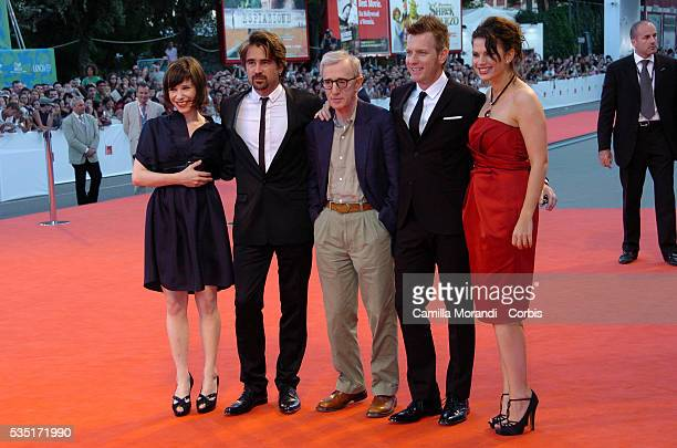 """Cast members Sally Hawkins, Colin Farrell, director Woody Allen, Ewan McGregor and Hayley Atwell at the premiere of """"Cassandra's Dream,"""" during the..."""