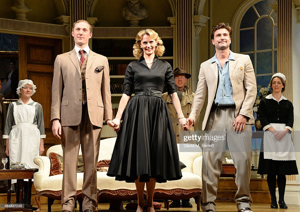 Cast members Sam Hoare, Leigh Zimmerman and Ben Mansfield bow at the curtain call during the press night performance of 'Relative Values' at the Harold Pinter Theatre on April 14, 2014 in London, England.