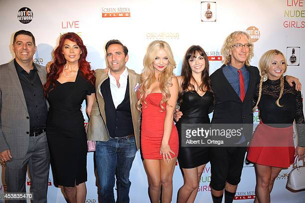 Cast members Sam Tripoli Tera Patrick Mike Hatton Mindy Robinson Annemarie Pazmino Andy Dick and Bree Olson arrive at the premiere of 'Live Nude...