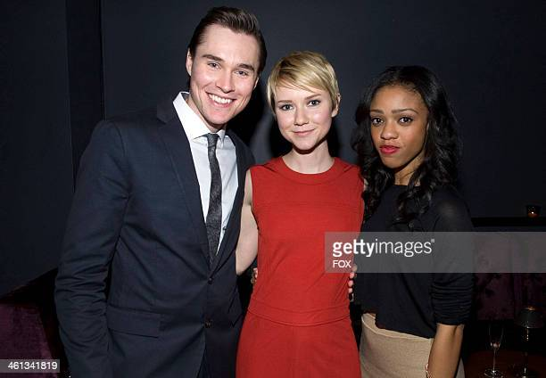 Cast members Sam Underwood Valorie Curry and Tiffany Boone attend the premiere episode of The Following on Tuesday Dec 3 2013 at The Tribeca Grand...