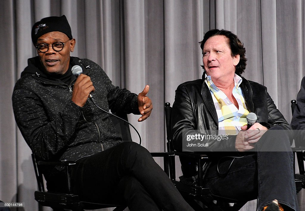 Cast members Samuel L. Jackson and Michael Madsen attend the Hateful Eight SAG Screening and Q&A at the Pacific Design Center on December 5, 2015 in West Hollywood, California.