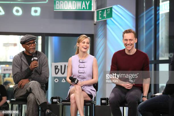 Cast members Samuel L Jackson Brie Larson and Tom Hiddleston discuss their new film 'Kong Skull Island' during the Build Series at Build Studio on...