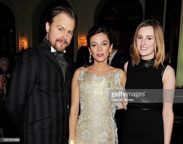 Cast members Samuel West Anna Friel and Laura Carmichael attend an after party following thepress night performance of 'Uncle Vanya' at The Charing...