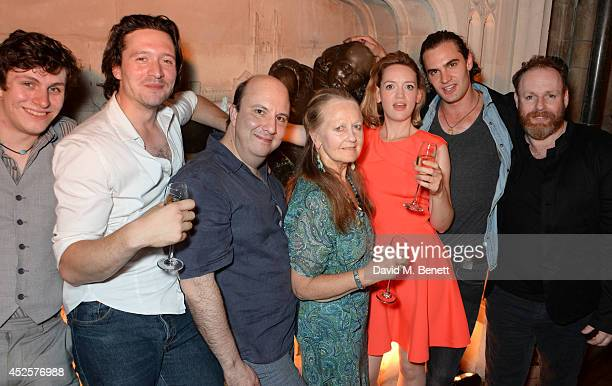 Cast members Sandy Murray David Oakes Paul Chahidi Anna Carteret Lucy BriggsOwen Tom Bateman and David Ganly pose in front of a statue of William...