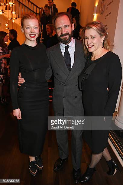 Cast members Sarah Snook Ralph Fiennes and Linda Emond attend the press night after party for The Master Builder at The Old Vic Theatre on February 3...