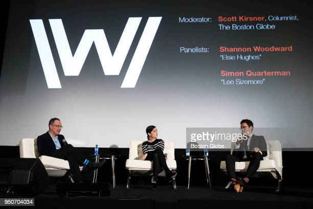 Cast members Shanon Woodward center and Simon Quarterman right take part in a question and answer session moderated by Scott Kirsner left at a...