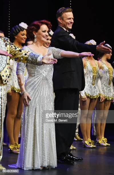 Cast members Sheena Easton and Tom Lister bow at the curtain call during the Opening Night Royal Gala performance of '42nd Street' in aid of the East...