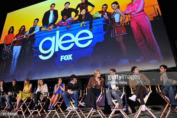 Cast members speak at a Q&A session at the GLEE premiere event screening at Santa Monica High School on May 11, 2009 in Santa Monica, California.