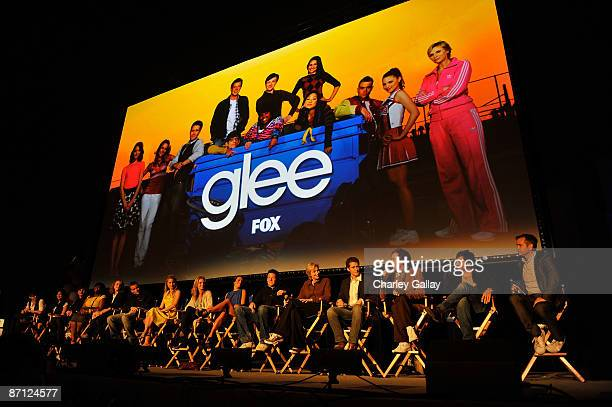 Cast members speak at a QA session at the GLEE premiere event screening at Santa Monica High School on May 11 2009 in Santa Monica California