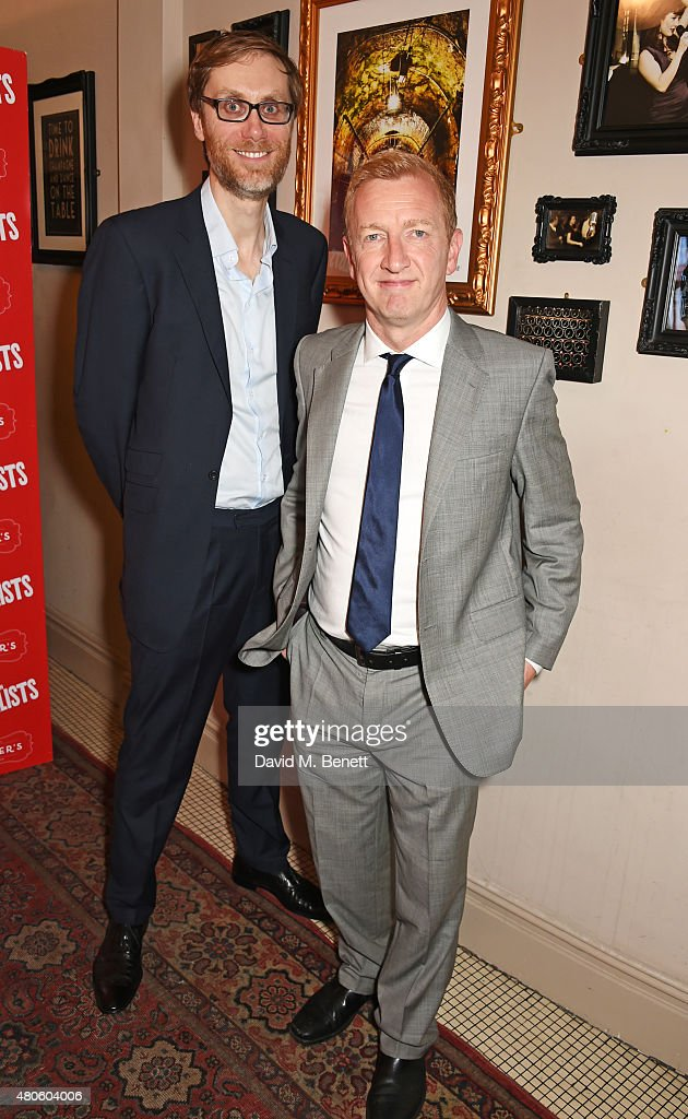 Cast members Stephen Merchant (L) and Steffan Rhodri attend an after party following the press night performance of 'The Mentalists' at Kettner's on July 13, 2015 in London, England.