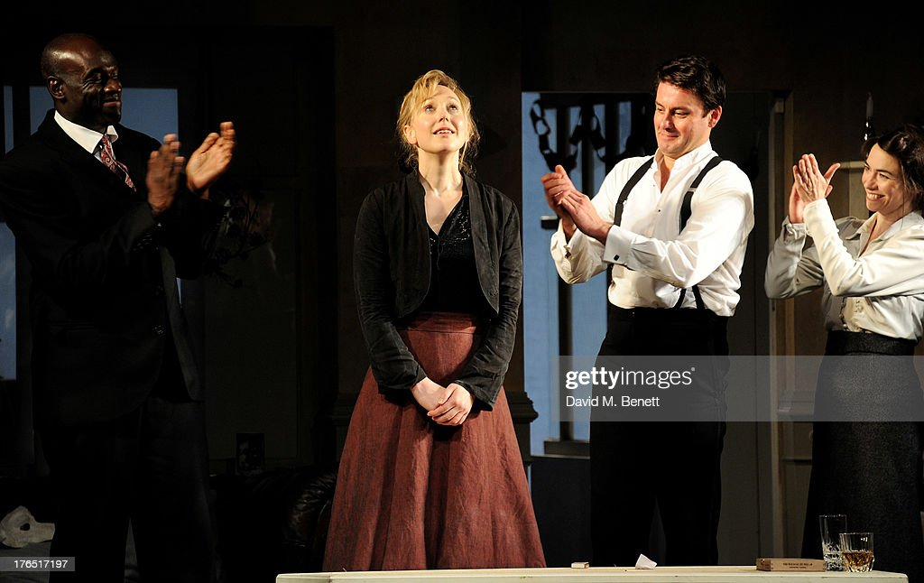 Cast members Steve Toussaint, Hattie Morahan, Dominic Rowan and Caroline Martin bow at the curtain call during the press night performance of 'A Doll's House' at the Duke Of Yorks Theatre on August 14, 2013 in London, England.