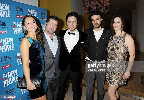 Cast members Susannah Fielding director Peter DuBois writer Zach Braff Paul Hilton and Eve Myles attend an after party celebrating the press night...