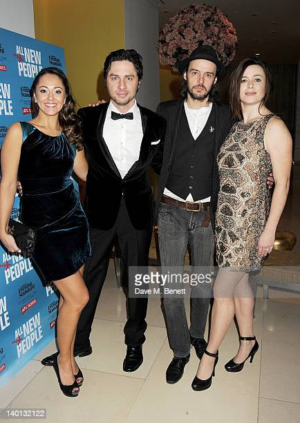 Cast members Susannah Fielding writer/actor Zach Braff Paul Hilton and Eve Myles attend an after party celebrating the press night performance of...