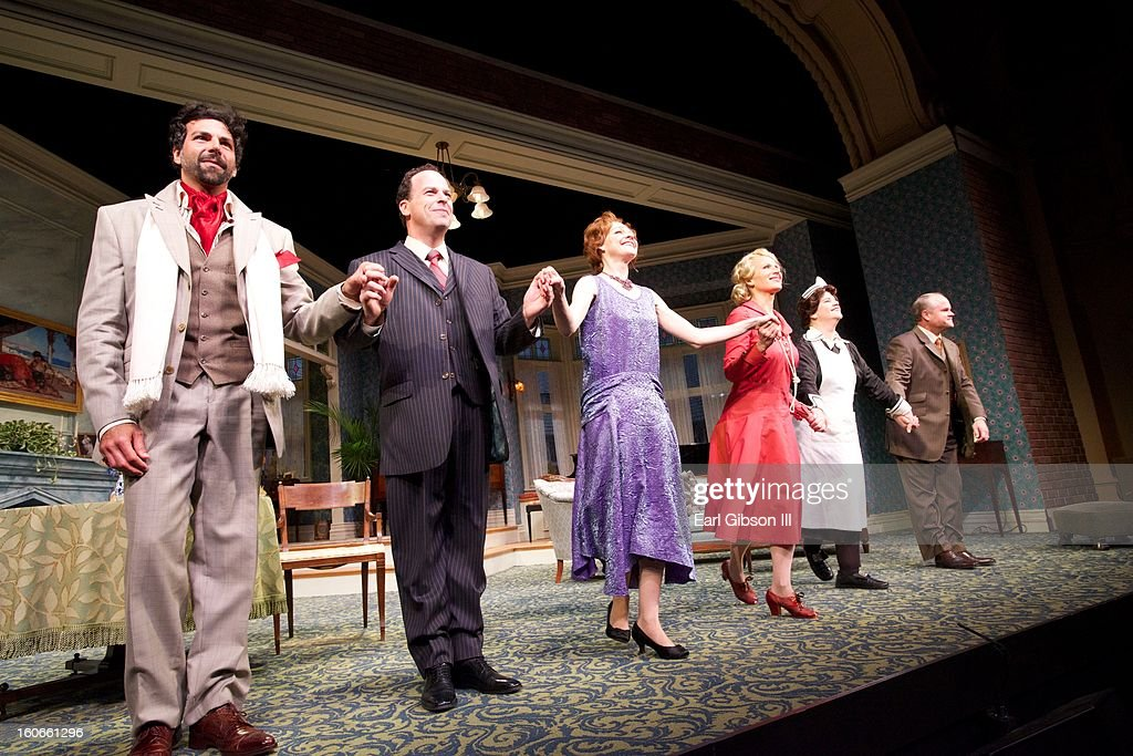 Cast members take a bow after Opening Nights Performance of Noel Coward's Fallen Angels (L-R) Elijah Alexander, Loren Lester, Katie Macnichol, Pamela J. Gray, Mary-Pat Green and Mike Ryan at the Pasadena Playhouse on February 3, 2013 in Pasadena, California.
