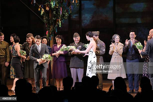 Cast members take a bow at the closing curtain of 'Allegiance' during the Broadway opening night at The Longacre Theatre on November 8 2015 in New...