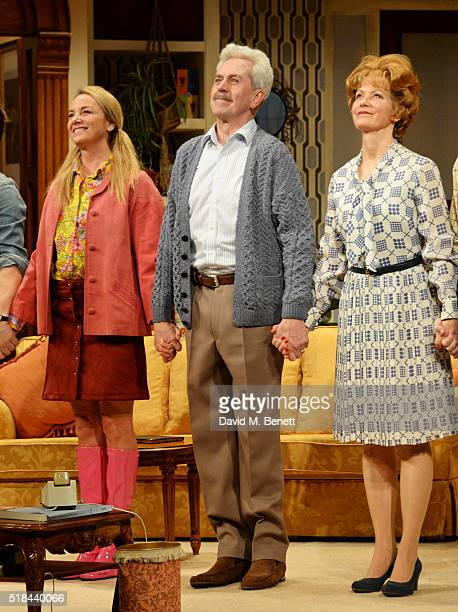 """Cast members Tamzin Outhwaite, Nicholas Le Prevost and Jenny Seagrove bow at the curtain call during the press night performance of """"How The Other..."""