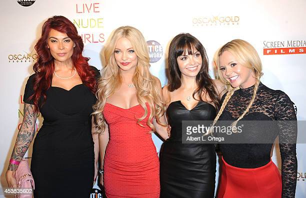Cast members Tera Patrick Mindy Robinson Annemarie Pazmino and Bree Olson arrive at the premiere of 'Live Nude Girls' held at Avalon on August 12...
