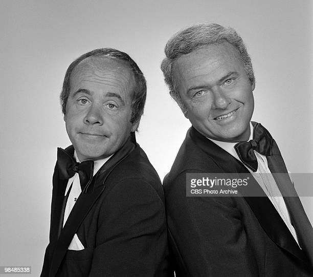"""Cast members Tim Conway and Harvey Korman on """"The Carol Bunett Show"""" on July 8, 1975 in Los Angeles, California."""