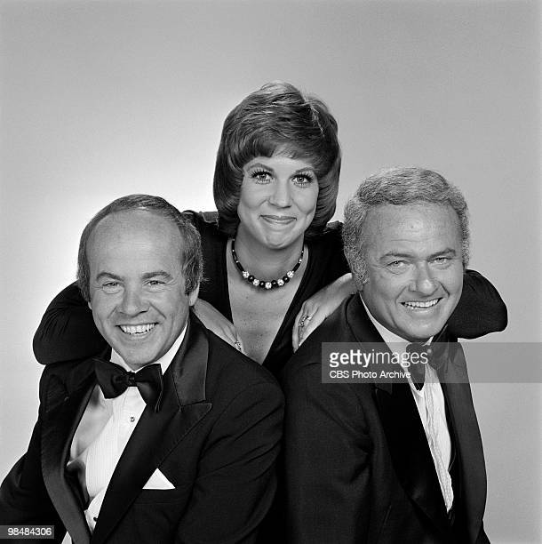 Cast members Tim Conway Vicki Lawrence and Harvey Korman on 'The Carol Bunett Show' on July 8 1975 in Los Angeles California
