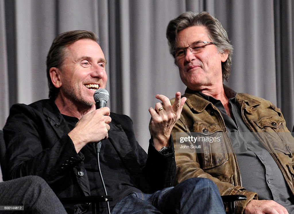 Cast members Tim Roth and Kurt Russell attend the Hateful Eight SAG Screening and Q&A at the Pacific Design Center on December 5, 2015 in West Hollywood, California.