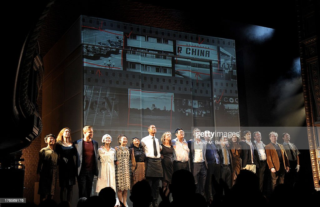 Cast members Tina Chiang, Rosie Armstrong, Chris Hollinshead, Vera Chok, Elizabeth Chan, Sarah Lam, Karl Collins, Claudie Blakley, Benedict Wong, Stephen Campbell Moore, Trevor Cooper, David K.S. Tse, Nancy Crane, Andrew Leung, Sean Gilder, Math Sams and Kevin Shen bow at the curtain call during the press night performance of 'Chimerica' at the Harold Pinter Theatre on August 15, 2013 in London, England.