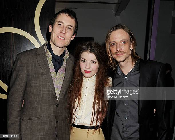 Cast members Tobias Menzies AimeeFfion Edwards and Mackenzie Crook attend an after party following the press night performance of Donmar Warehouse's...