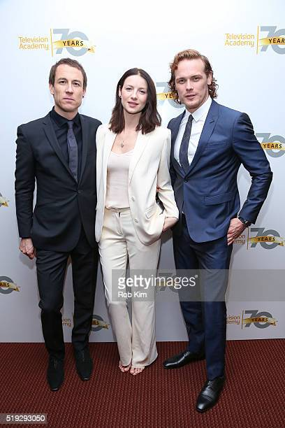 Cast members Tobias Menzies Caitriona Balfe and Sam Heughan attend the Outlander event presented by Television Academy at NYU Skirball Center on...