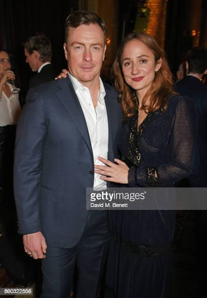 Cast members Toby Stephens and Lydia Leonard attend the press night after party for 'Oslo' at The Royal Horseguards on October 11 2017 in London...