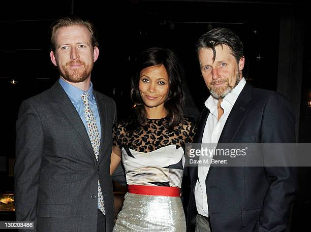 Cast members Tom GoodmanHill Thandie Newton and Anthony Calf attend an after party celebrating Press Night of 'Death And The Maiden' at Mint Leaf...
