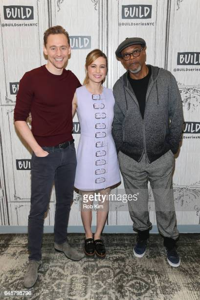 Cast members Tom Hiddleston Brie Larson and Samuel L Jackson attend the Build Series at Build Studio on March 6 2017 in New York City