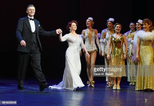 Cast members Tom Lister and Sheena Easton bow at the curtain call during the Opening Night Royal Gala performance of '42nd Street' in aid of the East...